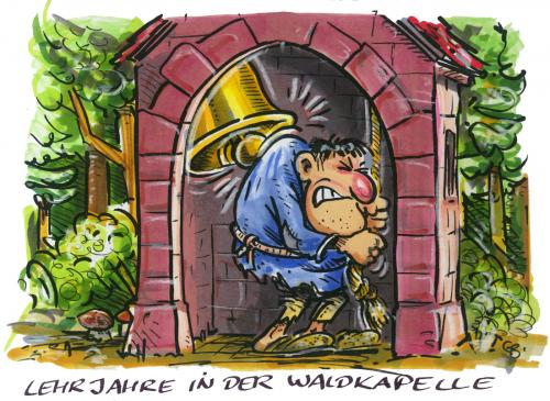 Cartoon: Lehrjahre in der Waldkapelle (medium) by GB tagged kirche,church,glöckner,bell,notre,dame,film,movie,religion,kirche,glöckner,notre,dame,religion,glocke,buckel,qual,kathedrale,lamartine,quasimodo,paris,frankreich,romanfigur,figur,anthony quinn,gina lollobrigida,charles laughton,maureen ohara,esmeralda,filmgeschichte,glockenturm,mittelalter,filmstars,filmproduktion,klassiker,filmklassiker,großes kino,anthony,quinn,gina,lollobrigida,charles,laughton,maureen,ohara,großes,kino