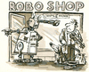 Cartoon: Roboshop (small) by GB tagged roboter,mensch,shop,achtung,missachtung,clochard,musiker,almosen,milde,gabe,knauser