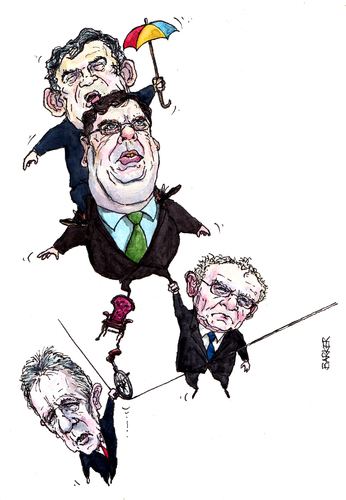 Cartoon: Crisis at Stormont (medium) by barker tagged gordon,brown,brian,cowen,martin,mcguinness,peter,robinson,northern,ireland,cartoon,caricature,karikatur,karikaturen,gordon brown,brian cowen,peter robinson,mcguinness,england,politik,gordon,brown,brian,cowen,peter,robinson
