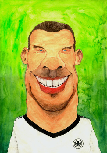 Cartoon: Lukas Podolski (medium) by Mario Schuster tagged karikatur,cartoon,lukas,podolski,mario,schuster,deutschland,brasilien,fussball,2014