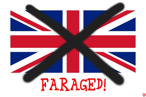 Cartoon: Faraged! (medium) by thalasso tagged gb,farage,brexit,exit,eu,englang,wales,scotland,northern,ireland,europa,europe,united,kingdom,großbritannien