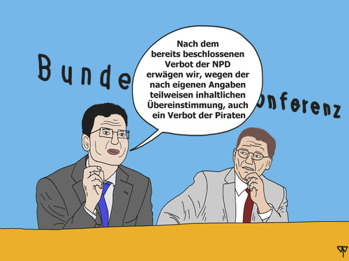 Cartoon: NPD-Verbot (medium) by thalasso tagged npd,verbot,piraten,schleswig,holstein