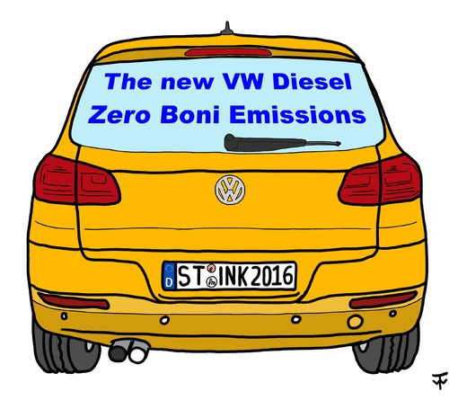 Cartoon: Zero Boni (medium) by thalasso tagged vw,abgas,schummel,skandal,boni,manager