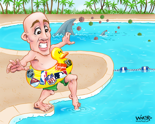 Cartoon: Dipping a toe in uncharted water (medium) by karlwimer tagged covid,coronavirus,sports,usa,pool,shark,toe