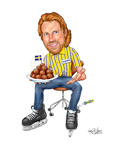 Cartoon: IKEA Forsberg (medium) by karlwimer tagged peter,forsberg,avalanche,ice,hockey,colorado,sweden,sports,ikea,meatballs