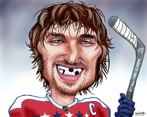 Cartoon: Ovechkins 700 Goal Smile (medium) by karlwimer tagged sports,washington,capitals,nhl,ice,hockey,alexander,ovechkin,goals