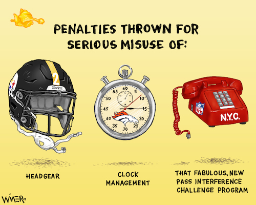 Cartoon: Penalties For the NFL (medium) by karlwimer tagged national,football,league,nfl,american,pittsburgh,steelers,helmet,stopwatch