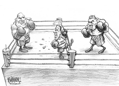 Cartoon: Ring o Pain (medium) by karlwimer tagged economy,business,colorado,new,year,boxing