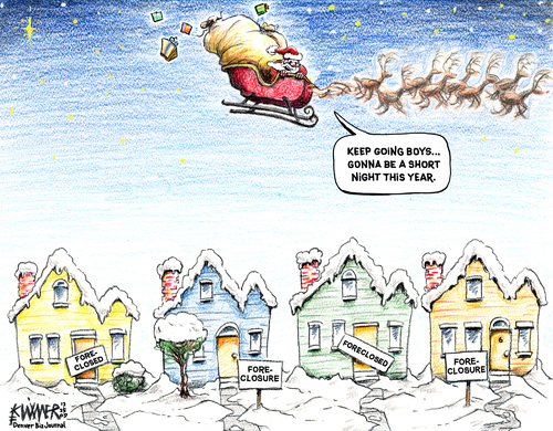 Cartoon: Santa Short Trip (medium) by karlwimer tagged santa,christmas,xmas,sleigh,foreclosure,housing,toys,reindeer,economy,business