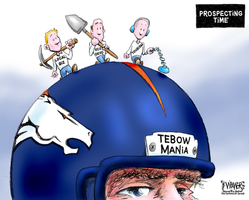 Cartoon: Tebowmania Prospecting (medium) by karlwimer tagged tebow,football,broncos,business,usa