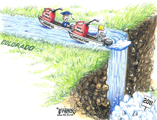 Cartoon: Waterfall 2010 (medium) by karlwimer tagged economy,business,construction,education,waterfall,boats,stimulus