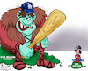 Cartoon: Baseball Underdog (small) by karlwimer tagged underdog,baseball,united,states,mlb,los,angeles,dodgers,tampa,bay,rays,world,series,sports,championships