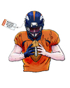 Cartoon: Bronco QB Pricetag (small) by karlwimer tagged football,denver,broncos,american,pricetag,salary,team,quarterback,superbowl