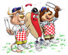 Cartoon: Bull and Bear BBQ (small) by karlwimer tagged bull,bear,wall,street,bbq,barbecue