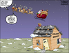 Cartoon: Christmas Housing Flyover (small) by karlwimer tagged santa,business,flyover,christmas,housing,roof,usa