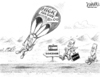 Cartoon: Hick Parachute (small) by karlwimer tagged colorado,governor,campaign,hickenlooper,mcinnis,parachute,politics