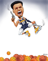 Cartoon: Jamal Murray Nugget Sharpshooter (small) by karlwimer tagged denver,nuggets,nba,basketball,sports,sharpshooter,blue,arrow