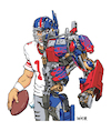 Cartoon: Optimus Eli Manning (small) by karlwimer tagged new,york,giants,nfl,american,football,eli,manning,optimus,prime,transformers,cartoon,mashup