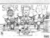 Cartoon: Sitting Out the Super Bowl (small) by karlwimer tagged super bowl football championship us pepsi fedex automobiles cars business economics advertising
