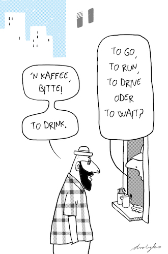 Cartoon: Coffee to drink (medium) by droigks tagged coffee,to,go,kaffee,urban,imbiss,laden,hipster,run,drive,wait,denglisch,coffee,to,go,kaffee,urban,imbiss,laden,hipster,run,drive,wait,denglisch