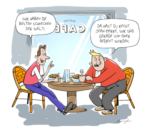 Cartoon: Frankreich (medium) by droigks tagged france,frankreich,schnecke,bistro,cafe,haute,cuisine,deutsch,franzoesische,freundschaft,france,frankreich,schnecke,bistro,cafe,haute,cuisine,deutsch,franzoesische,freundschaft