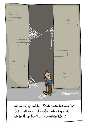 Cartoon: Pet Peeve (medium) by Jason Cowling tagged vector,digital,humour,spiderman,webs,grumble