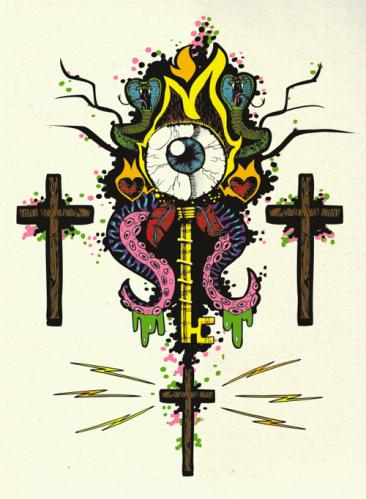 Cartoon: The Key (medium) by Breidholt tagged cross,rock,metal,eye,tattoo,flames,fire,tentacles,horror