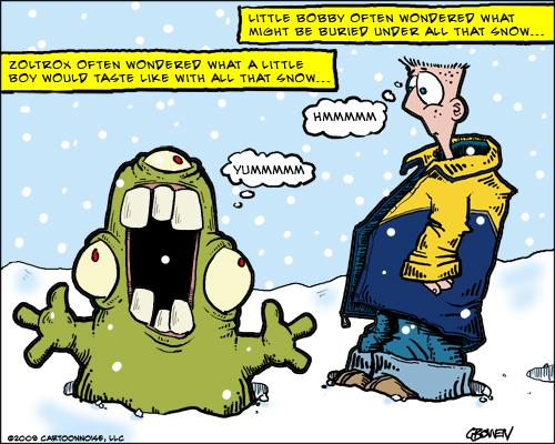 Cartoon: Snow Monster (medium) by GBowen tagged monster,snow,gbowen,boy,little,snowing,hungry,yummy