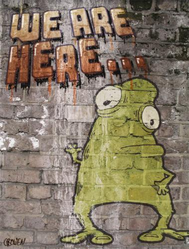 Cartoon: They are here... (medium) by GBowen tagged graffiti,alien,monster,wall,silly