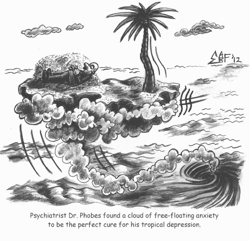 Cartoon: Free Floating Anxiety (medium) by Tzod Earf tagged tranquility,of,sea,island,meditation,mindfulness,relaxation,treatment,depression,tropical,anxiety,floating,free,psychiatry