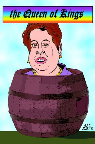 Cartoon: Kagan Queen of Kings (medium) by Tzod Earf tagged president,obama,elena,kagan,kevin,james,king,of,queens,caricature