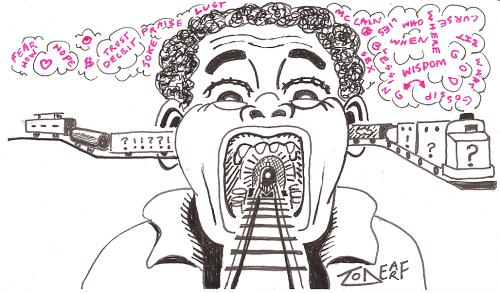 Cartoon: Runaway Train of Thought (medium) by Tzod Earf tagged describbles
