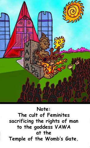 Cartoon: Sacrifice of the Rights of Man (medium) by Tzod Earf tagged vawa,equals,vam,domestic,violence,of