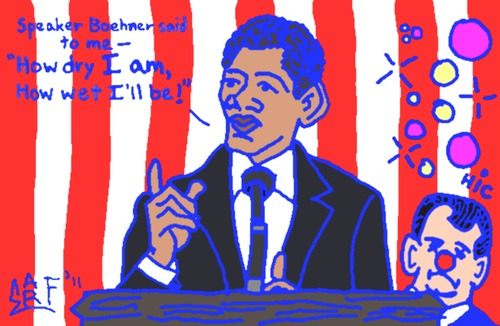 Cartoon: State of the Union Boos (medium) by Tzod Earf tagged president,barrack,obama,speaker,of,the,house,representatives,hillbilly,john,boehner,state,union,address,reading,ohio,hicksville,usa