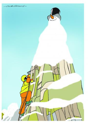 Cartoon: Mountain (medium) by Clive Collins tagged mountains,climate