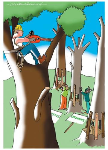 Cartoon: Tree Cutters (medium) by Clive Collins tagged nature,climate,greenpeace