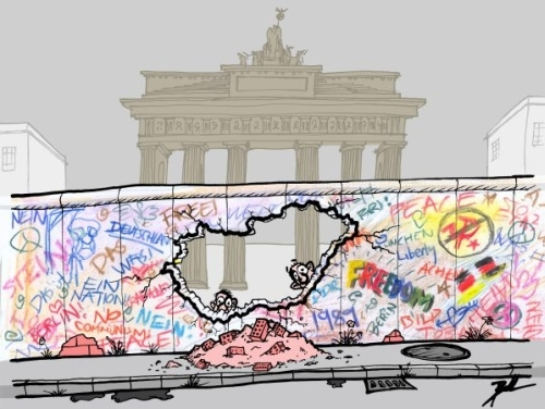Cartoon: Berlin 1989 (medium) by Ballner tagged berlin,wall,hungary