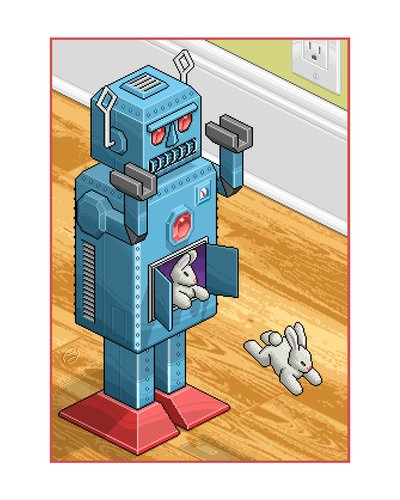 Cartoon: Bunnies Attack (medium) by birdbee tagged pixel,art,robot,bunnies,rabbits,isometric