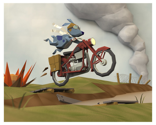 Cartoon: Crossing No Mans Land (medium) by birdbee tagged 3d,lowpoly,messenger,motorcycle,war,dog