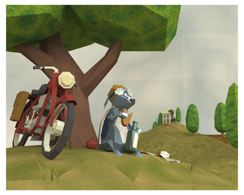 Cartoon: Lunch Break (medium) by birdbee tagged 3d,lowpoly,lunch,war,motorcycle,dog,messenger