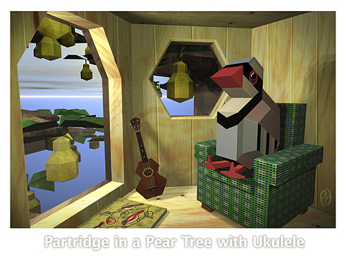 Cartoon: Partridge in a Pear Tree with Uk (medium) by birdbee tagged partridge,pear,tree,uke,ukulele,3d
