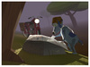 Cartoon: Lost (small) by birdbee tagged messenger,dog,motorcycle,war,night,map,lowpoly,3d