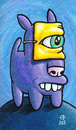 Cartoon: Masked Dog (small) by birdbee tagged dog purple mask painting acrylic