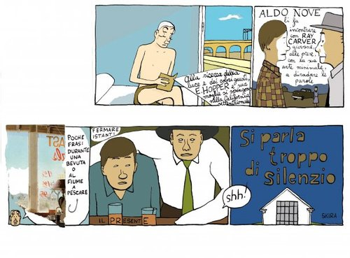 Cartoon: edward hopper and raymond carver (medium) by marco petrella tagged hopper,carver,writers,painter,california
