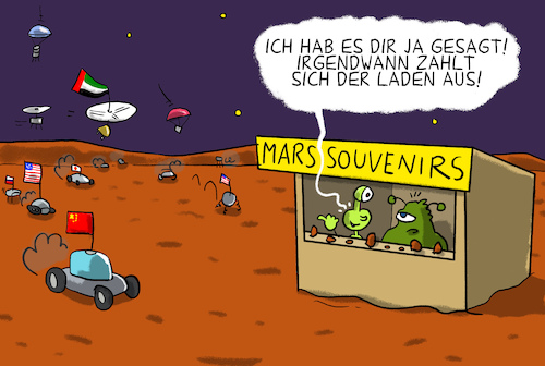 Cartoon: auf dem mars wird es eng (medium) by leopold maurer tagged mars,mission,usa,china,arabische,emirate,mars,mission,usa,china,arabische,emirate