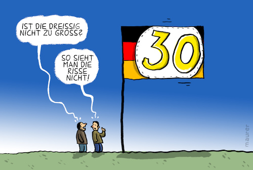 Cartoon: dreissig jahre deutsche einheit (medium) by leopold maurer tagged deutsche,einheit,dreissig,deutsche,einheit,dreissig