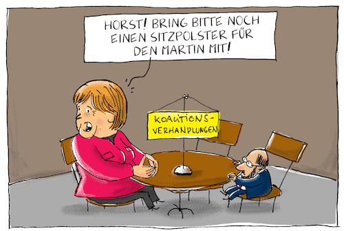 Cartoon: koalitionsverhandlungen (medium) by leopold maurer tagged groko,koalitionsverhandlungen,cdu,csu,spd,schulz,merkel,seehofer,deutschland,regierung,groko,koalitionsverhandlungen,cdu,csu,spd,schulz,merkel,seehofer,deutschland,regierung