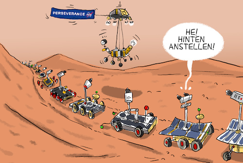Cartoon: Nasa-Sonde Perseverance (medium) by leopold maurer tagged mars,perseverance,nasa,mission,landung,sonde,rover,stau,usa,china,japan,russland,europa,überfüllt,leopold,maurer,karikatur,cartoon,comic,illustration,mars,perseverance,nasa,mission,landung,sonde,rover,stau,usa,china,japan,russland,europa,überfüllt,leopold,maurer,karikatur,cartoon,comic,illustration