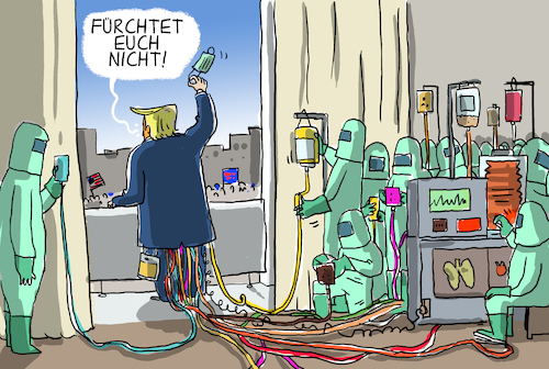 Cartoon: trump wieder im weissen haus (medium) by leopold maurer tagged trump,corona,infektion,trump,corona,infektion