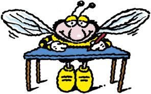 Cartoon: Busy Bee (medium) by Ellis Nadler tagged bee,desk,wings,insect,exam,pen,writer,antennae